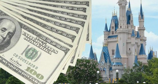A stack of money on the left and Disneyland on the right