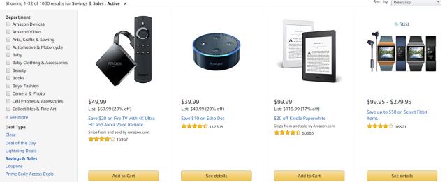 Amazon Savings and Sales